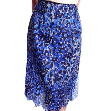"Vintage Blue Printed Silk Slip Laros 1950S 23"" Waist Pencil Skirt"