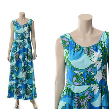 Vintage 60s Polynesian Princess Mod Floral Dress 1960s Walt Disney Hawaiian Boho Hippie Tiki Resort Long Maxi Length