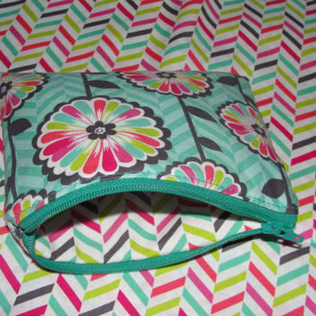 Zipper Pouch for Coins, Knitting Notions, Toiletries, Cosmetics, Handmade with Floral fabric and Chevron lining in blue, pink, green