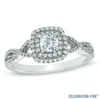 Celebration Fire® 5/8 CT. T.W. Diamond Engagement Ring in 14K White Gold (H-I/SI1-SI2)