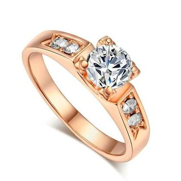 Classical 4 Prong Setting CZ Diamond Ring Rose/White/Gold Tone For Women