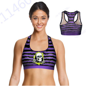 Purple Stripe Skull Fitness Running Bras Scary Skeleton Skull Sport Bras Cropped Padded Bra Women Sexy Yoga Bra Tops New