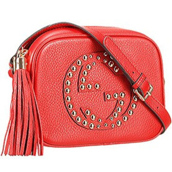 Gucci Soho Disco Studded Leather Bag Red