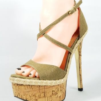 Luichiny Le Andra Gold Tan Linen Cork High Heel Platform Crossed Strap Shoe