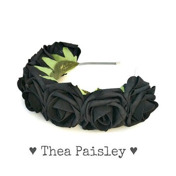 Coachella Rose Flower crown: Flower Halo, pastel goth, 2014 fesstival, indie, kawaii, lana del rey , hipster flower crown, black