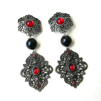 Jewelry Sale Huge Statement Earrings, Large Clip On Earrings, Antiqued Silver