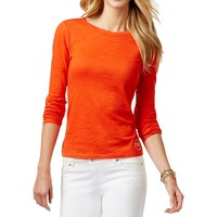 Michael Kors Womens Slub Embellished Casual Top