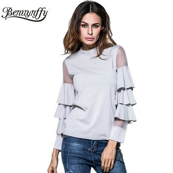 New Spring Summer T Shirt Women Fashion Tops Female Mesh Patchwork Layered Sleeve Slim Tee Women Long Sleeve