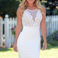 White Sleeveless Lace Mesh Bodycon Mini Dress