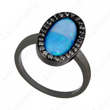 New 2015 Summer Fashion Men&Women Ring Blue Opal Rings Anel Zircon 14K Black Gold Filled Jewelry Party/Wedding rings RB0299