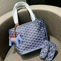 Goyard Fashion Women Shopping Leather Handbag Tote Shoulder Bag Purse Wallet Set Two-Piece Blue