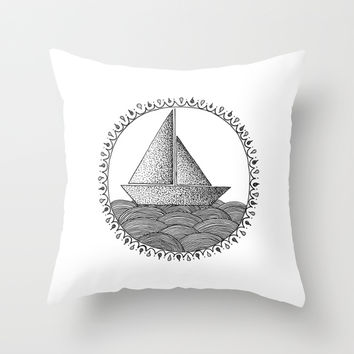 Sailing Boat Throw Pillow by Cinema4design