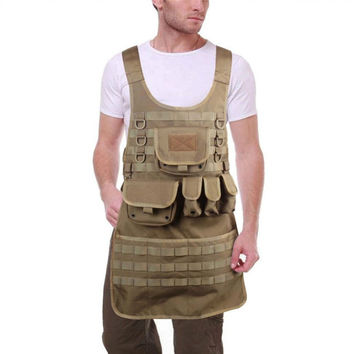 OneTigris Outdoor MOLLE Vest Tactical BBQ Apron for Chef and Mechanic Utility Cooking Aprons with Five Pouches