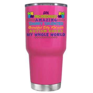 TREK An Amazing Smart Talented Kid with Autism on Bright Pink 30 oz Tumbler Cup