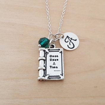 Once Upon A Time Necklace - Fairy Tale - Birthstone Necklace - Personalized Gift - Initial Necklace - Sterling Silver Jewelry - Gift for Her