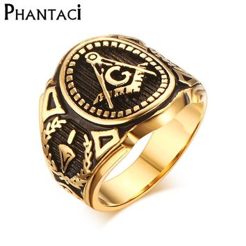 2018 Hot Vintage 316L Stainless Steel Men Ring Gold Free Mason Freemasonry Masonic Male Retro Punk Black Brand Ring Jewelry