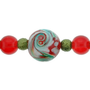 Round Lampwork Glass Beads Red,Green,White - 7