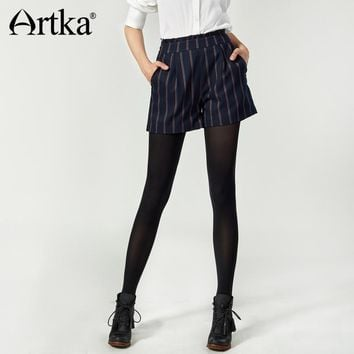 Artka 2017 Autumn&Winter Vintage A-shape Stripe All-Match Skinny Casual and Office Look Short Pants KA10379Q