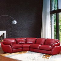 Swanky Italian Leather Sectional Sofa, Red
