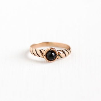 Antique 10k Rose Gold Garnet Cabochon Baby Ring -  Early 1900s Victorian Edwardian Size 2 Red Gemstone Midi Pinky Fine Children's Jewelry