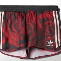 Adidas Woman Red Roses Print Sports Leisure Shorts