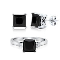 Princess Cut Black Cubic Zirconia CZ 925 Sterling Silver Solitaire Stud Earrings And Ring Matching 2 Pc Set 5,7mm #vs108