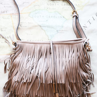 The Blaze Fringe Handbag, Stone