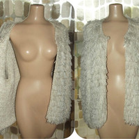Vintage 70s 80s RARE Shaggy Loop Hand Knit Cardigan Sweater Furry Feathery Fluffy Crochet BOHO