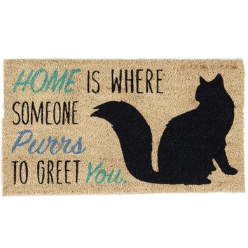 Cat Purrs Theme Coir Doormat