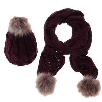 [16428] Women Fur Ball Cable Knit Hat And Scarf Set