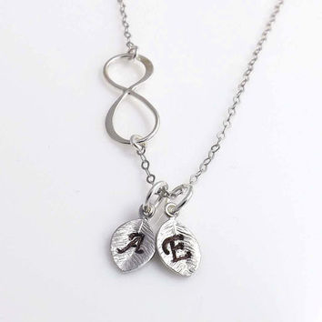 Personalized initial Infinity necklace -two initial charm-  birthday, wedding, Mothers Day, friendship - Sterling silver