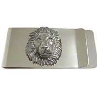 Silver Toned Textured Lion Head Money Clip