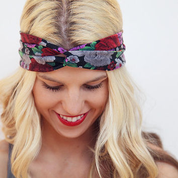 Floral Hair Band Summer Turban Stretchy Knot Headband Workout Yoga Band