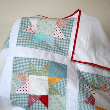 Gender Neutral Baby Quilt, Star Baby Bedding, Baby Patchwork Quilt, Cot Comforter, Colorful Crib Bedding, Baby Girl Quilt, Baby Boy Quilt
