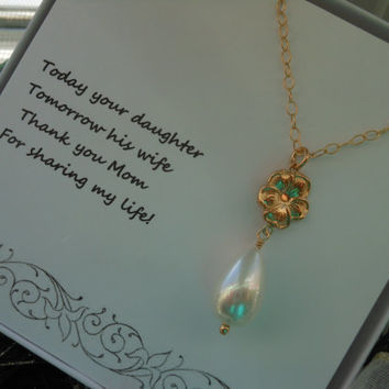 Mother of the Bride Gift, Gold Necklace, Gift for Mom, Teardrop Pearl Necklace, Gold Flower, Wedding, Mother in law Gift