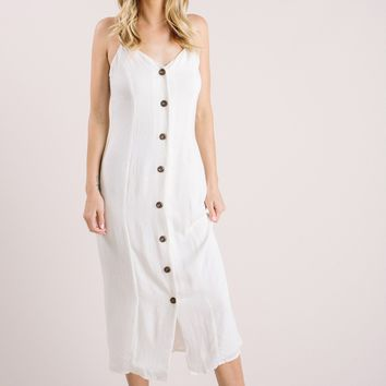 Kathleen White Button Midi Dress