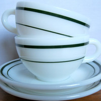 Vintage Retro Diner Style Teacup and Saucers set by ToucheVintage