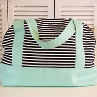 Black and White Stripes with Solid Mint Weekender - Overnighter Bag - Diaper Bag