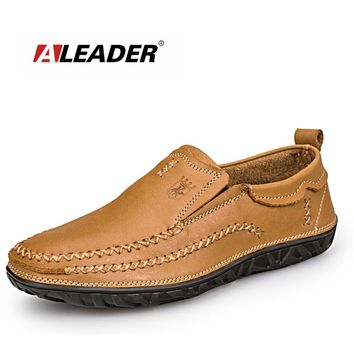 Men Outdoor Casual Shoes Aleader Men's Comfortable Loafers Classic Slip On Flat Leather Shoes Men Oxfords