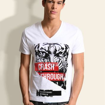 TIGER HEAD ANGRY WILD CAT ANIMAL NOMADE MEN'S WHITE V-NECK GRAPHIC T-SHIRT