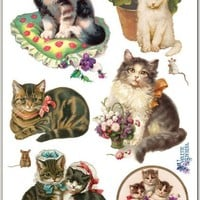 Lovely Kittens Victorian Stickers