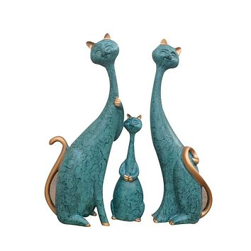 Modern-Style Cat Family Of 3 Figurines Hand-Made & Hand-Painted Ceramic Statues