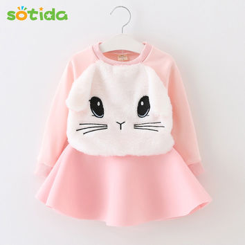 Winter Girls Dress 2016 Brand Princess Dresses Girls Clothes Long Sleeve Cartoon Embroidery Design for Party Dress