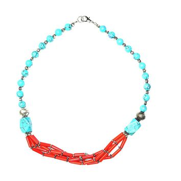 Boho Jewelry turquoise coral Beads Pendent Necklace - Handmade Stone Jewelry