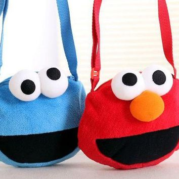 DCCKH6B Candice guo cute plush toy coin bag cartoon Sesame Street Elmo cookie monster small crossbody children girls birthday gift 1pc