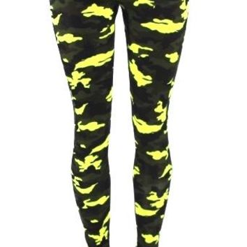 Womens Yoga Pants Athletic Fitness Running Active Wear Bottom Green Camo