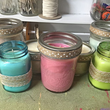 Mason Jar Candles, soy wax, eco wick, sented, caramel pumpkin, passion fruit, vanilla, paradise flower, oats & honey, glass, tinted