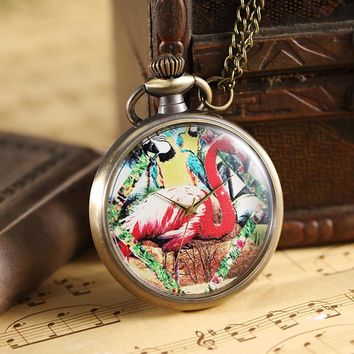 Vintage Colorful Painted Cute Ostrich Quartz Pocket Watch Women Men Necklace Pendant Lady Gifts Unique Steampunk Pocket Watches