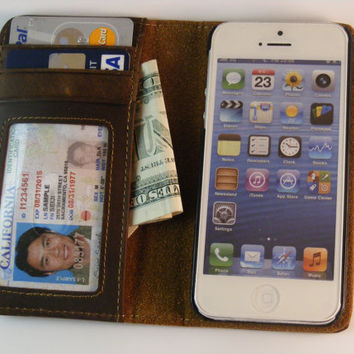 iPhone Leather Wallet Book Case for iPhone 4 - Free Monogramming