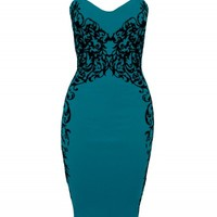 Teal/Black Flocked Mirror Dress | Dresses | Desire